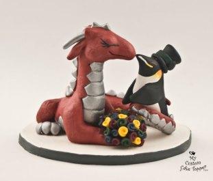 Dragon And Penguin Custom Wedding Cake Topper