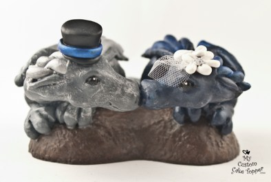 Dragons in a Heart Blue and Silver