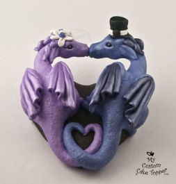 Dragons in a Heart Purple and Blue