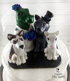 Dinosaur Bride and Wolf Groom with Dogs Cake Topper