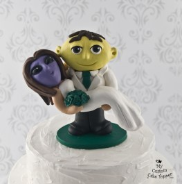 Lemon Head and Alien Bride Wedding Cake Topper