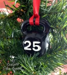 Kettlebell Black Christmas Ornament
