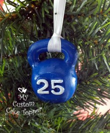 Kettlebell Blue Christmas Ornament