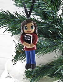 Book Lover Girl Christmas Ornament
