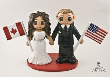 Bride and Groom with Canadian and American Flags