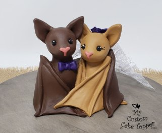Brown Cuddling Bats Topper
