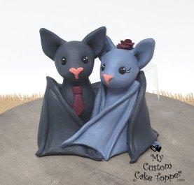 Grey Bats Cuddling Topper