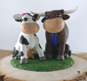 Cow and Bull Cake Topper