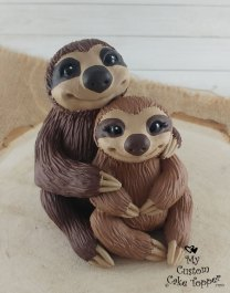 Sloths Brown Cute Cake Topper