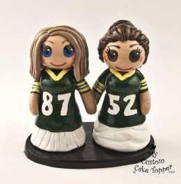 Bride and Bride Football Fans Cake Topper