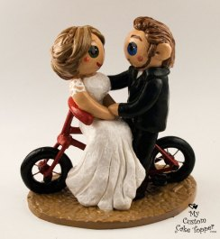 Bride and Groom Riding Bicycle Cake Topper