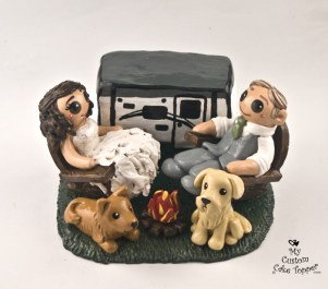 Bride and Groom Camping RV Cake Topper