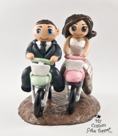 Bride and Groom Riding Dirt Bikes Cake Topper 2