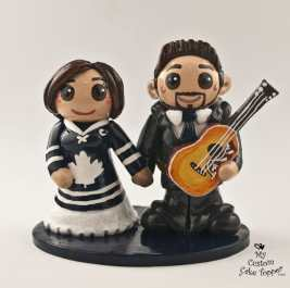 Bride and Groom Guitar and Hockey Cake Topper