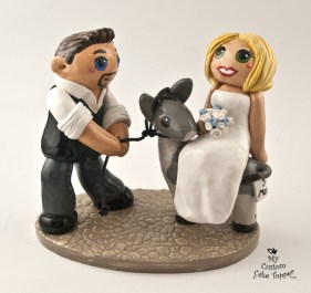 Bride Riding Donkey and Groom Pulling Cake Topper