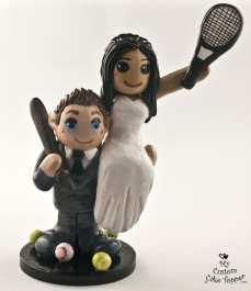 Bride and Groom Tennis and Baseball Cake Topper