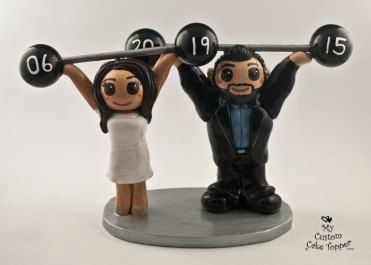 Bride and Groom Weightlifters Cake Topper