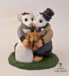 Opossums Cuddling with Dog Cake Topper