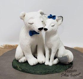 Polar Bear and White Fox Cake Topper