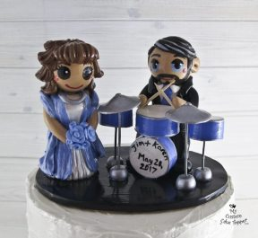 Bride and Groom Drums in Blue Cake Topper