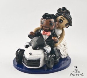 Bride and Groom Riding Can Am Tricycle Cake Topper