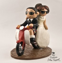 Bride and Groom Riding a Scooter Cake Topper