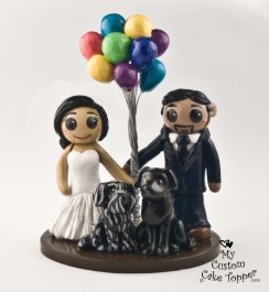 Bride and Groom with UP Balloons Cake Topper