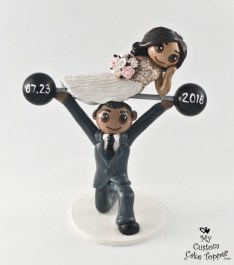 Bride lifted on Barbell by Groom Cake Topper