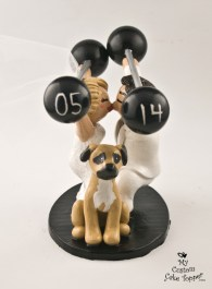 Bride and Groom Snatch Kissing with Dog Cake Topper