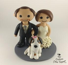 Bride and Groom Cartoon Dog Cake Topper
