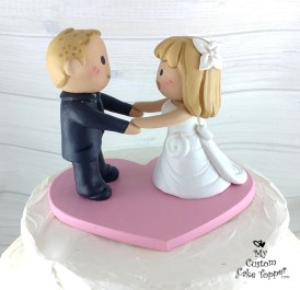 Bride and Groom Cartoon Style Cake Topper