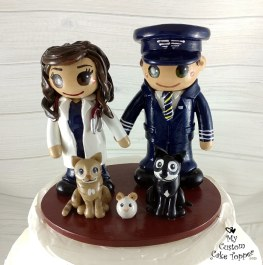 Bride and Groom Pilot and Doctor with Cats Cake Topper