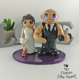 Bride Runner and Bodybuilder Groom Cake Topper