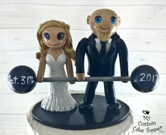 Bride and Groom Dual Deadlift Cake Topper