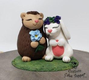 Cartoon Hedgehog and Bunny Cake Topper
