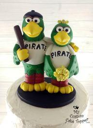 Mascot Pittsburgh Pirate Parrots Baseball Cake Topper