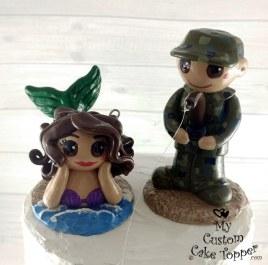 Mermaid and Military Fisherman Cake Topper