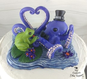 Octopus and Frog Wedding Cake Topper