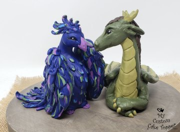 Blue Phoenix and Green Dragon Cake Topper