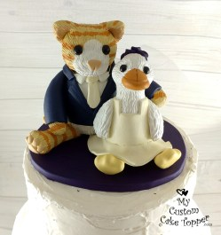 Stuffed Animals Cat and Duck Cake Topper