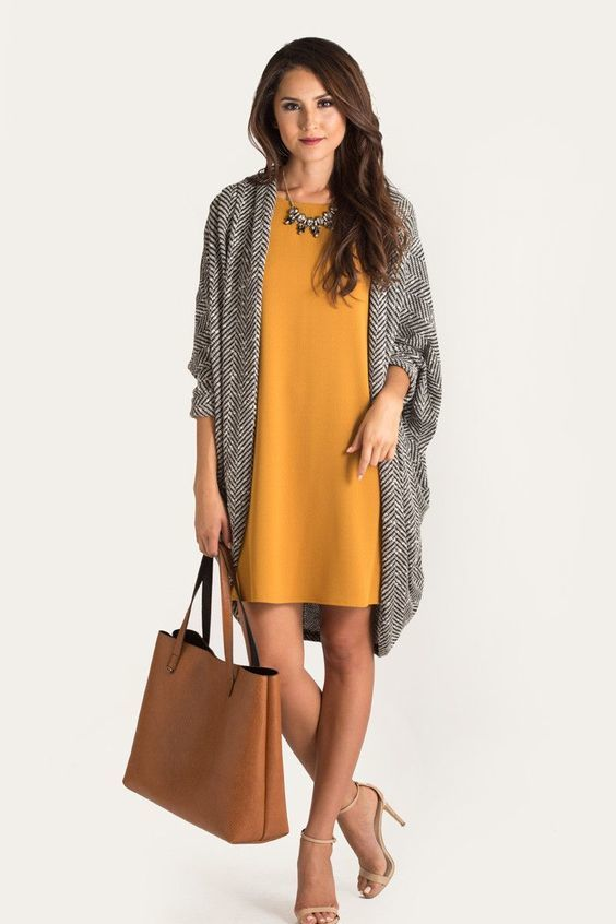 28-mustard-dress-a-chevron-coat-a-statement-necklace-and-nude-heels