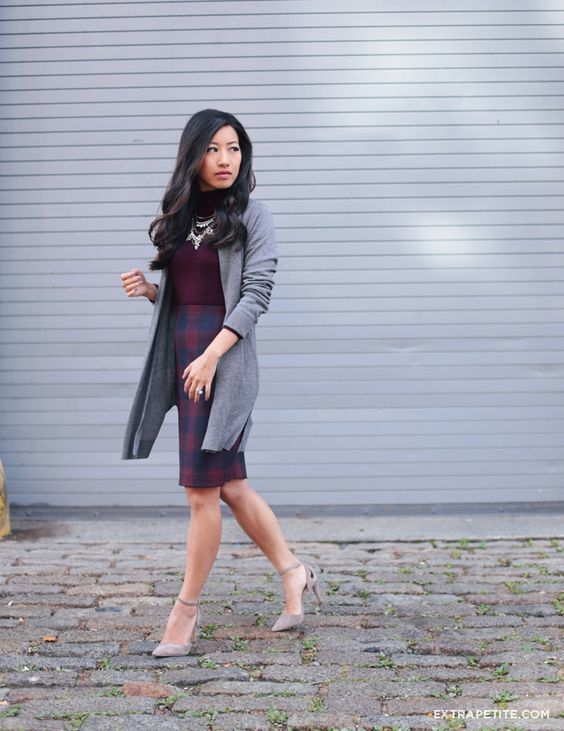 29-plaid-skirt-a-burgundy-turtleneck-a-statement-necklace-a-long-grey-cardigan-and-heels