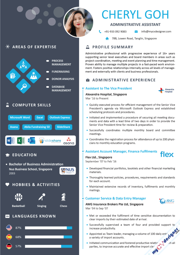 Administrative Assistant Infographic Resume Sample