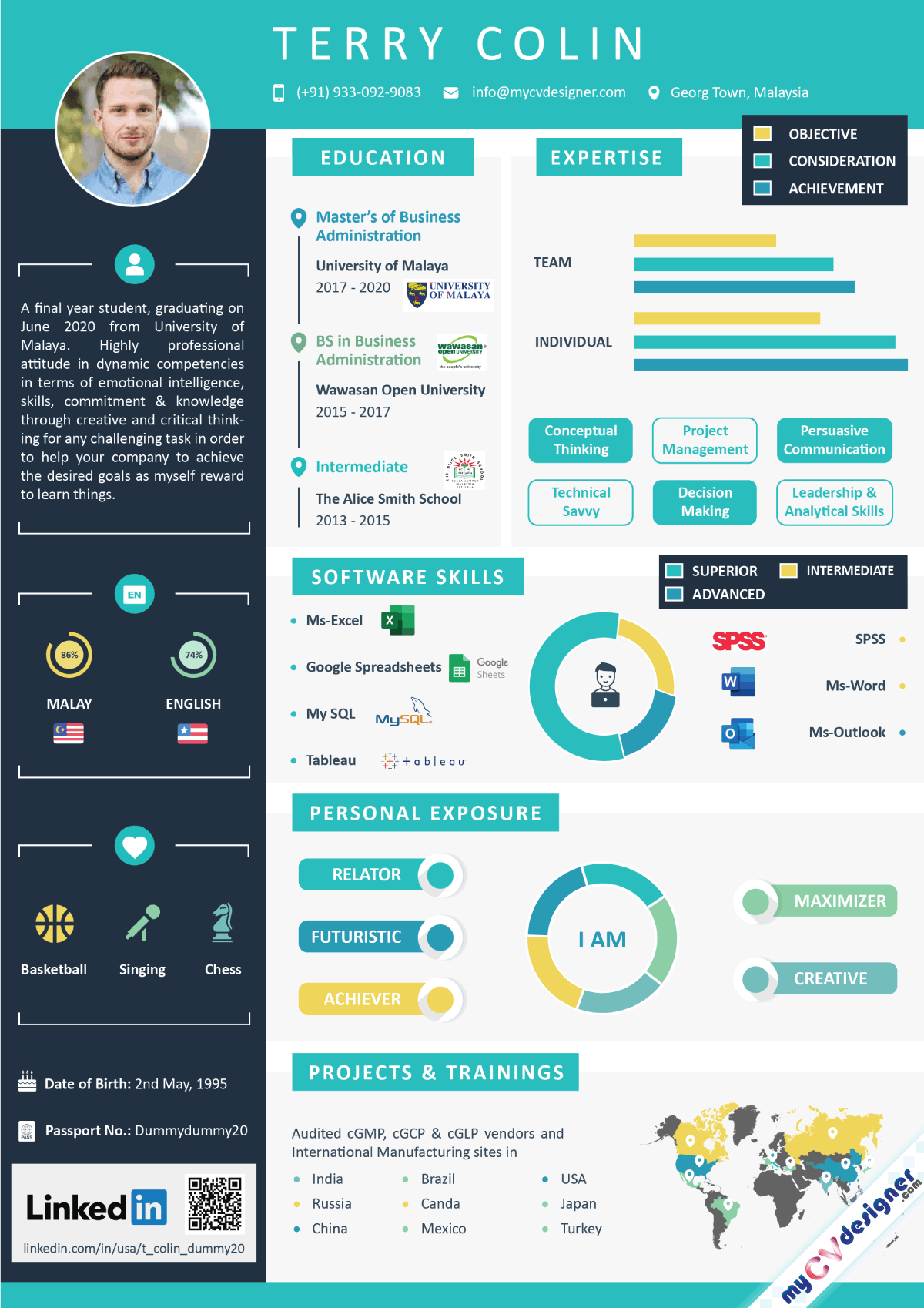 Fresher Infographic Resume Template