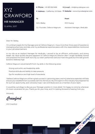 Cover Letter - Designed (MCDCLD0125)