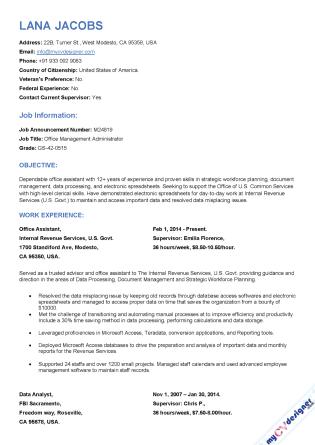 Federal Resume (MCDF0002)