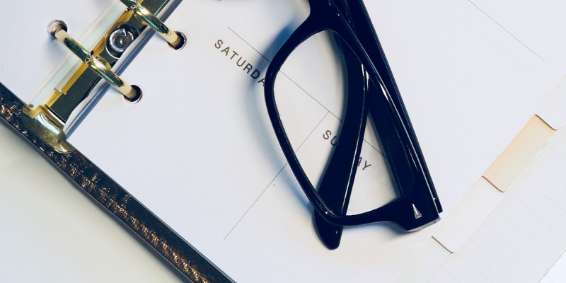 Glasses and planner