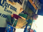 Most corner stores, tiendas, sell barrels of brooms right out the door: coolio!