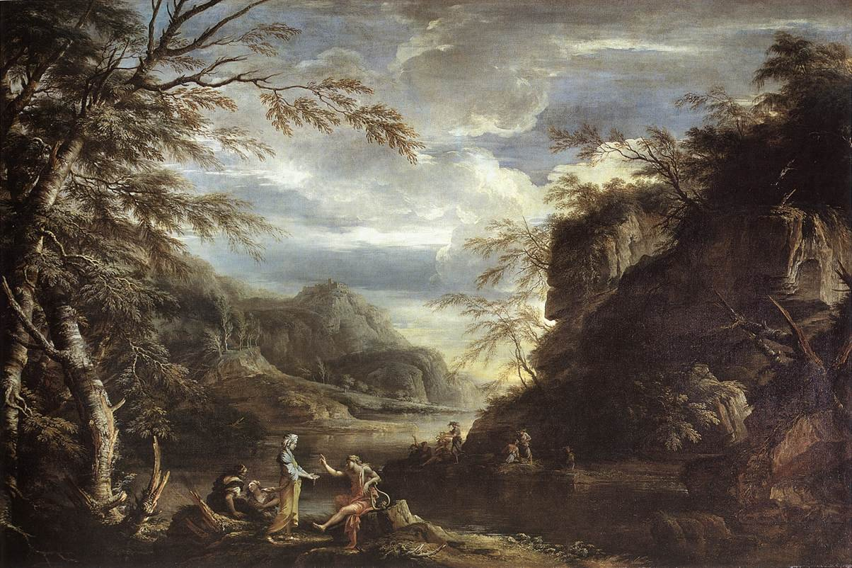 River Landscape with Apollo and the Cumaean Sibyl by Salvator Rosa  my daily art display