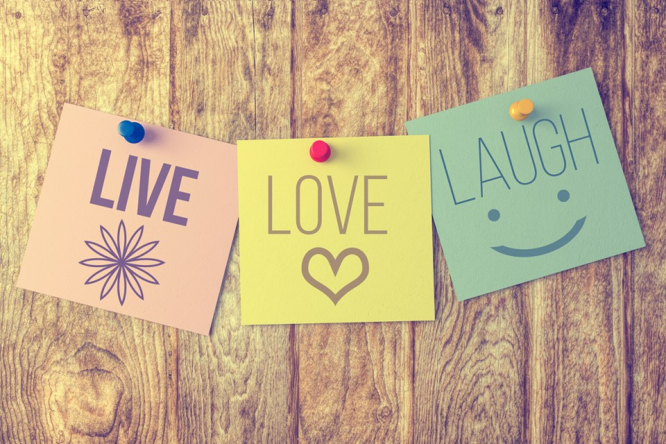 Live laugh love on wooden background